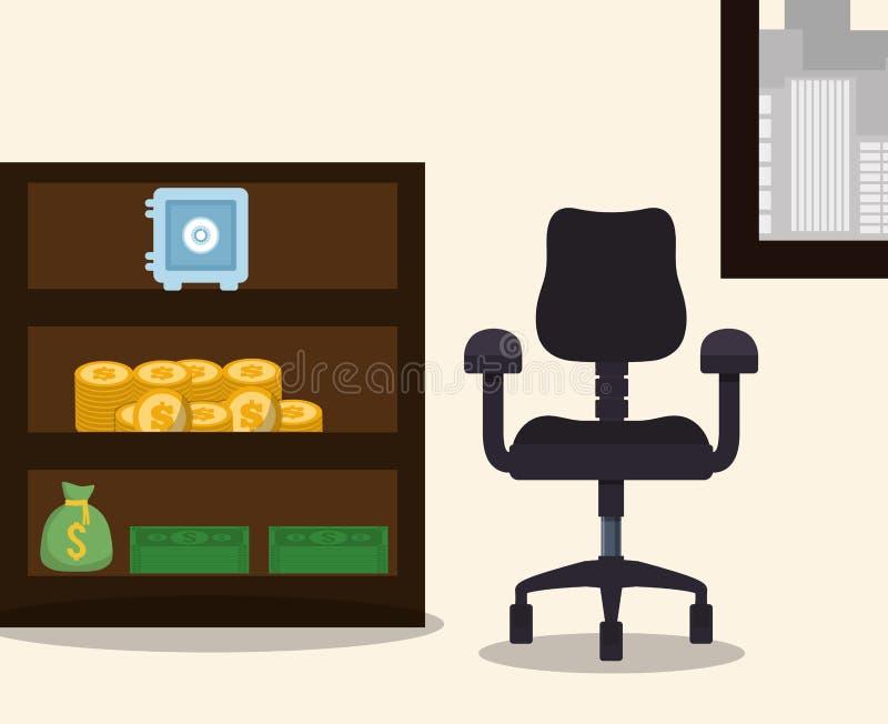 mynt för pengar och för hög för påse för ask för möblemang för affärsarbetsplatsstol säkra royaltyfri illustrationer