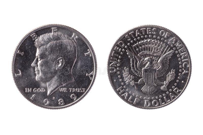 Mynt för mynt USA för halv dollar 50 cent som dateras 1989 med en bild av presidenten John Kennedy fotografering för bildbyråer