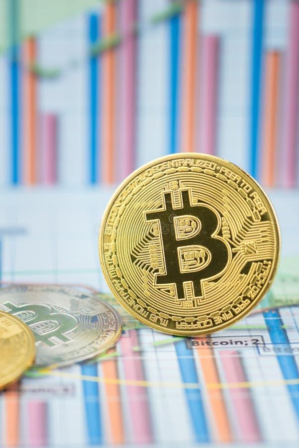 Mynt f?r cryptocurrency Bitcoin f?r guld- mynt fysiskt arkivfoton