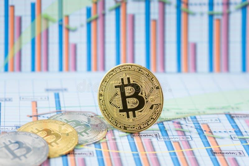 Mynt f?r cryptocurrency Bitcoin f?r guld- mynt fysiskt royaltyfria foton
