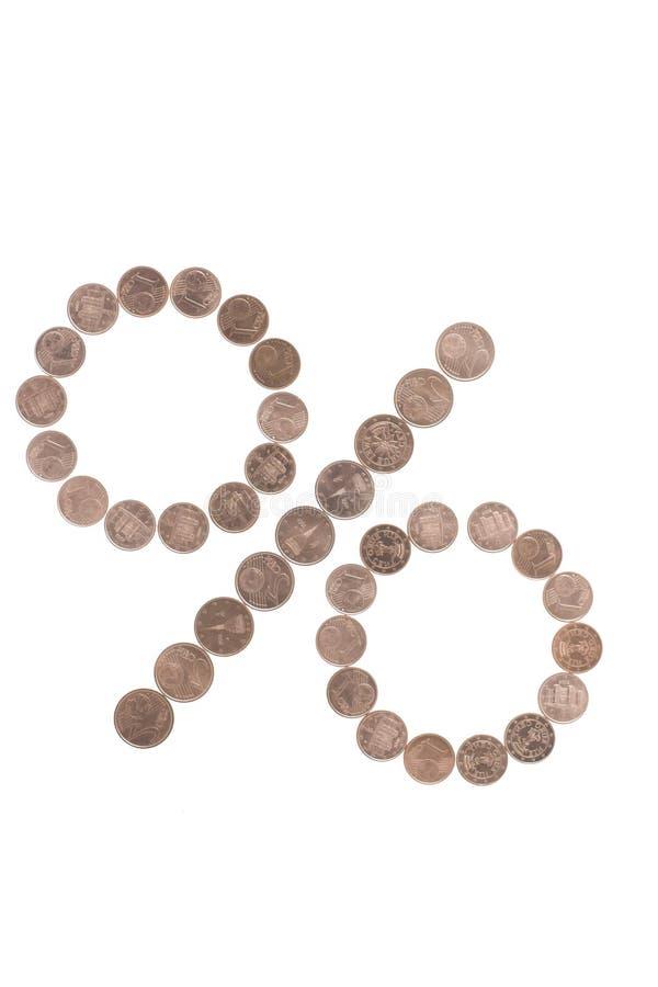 mynt gjorde procenttecknet royaltyfri fotografi