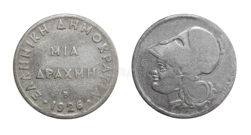 Mynt Grekland 1 drakma royaltyfri bild