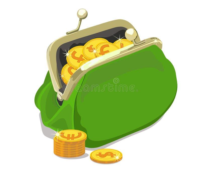 Mynt häller in i den öppna handväskan också vektor för coreldrawillustration vektor illustrationer