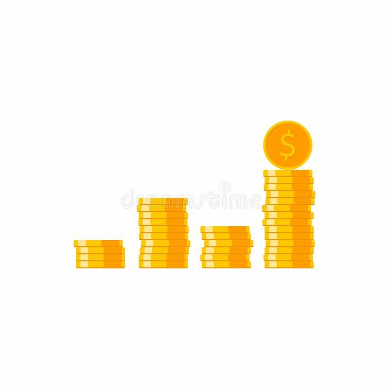 Mynt mynt, många mynt, dollar som är isometrisk, hög av pengar, finans, affär, ingen bakgrund, vektor, plan symbol, guld- bun stock illustrationer