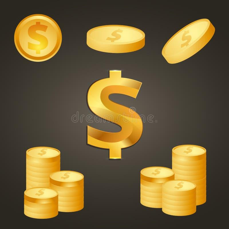 Mynt och guld- färg för dollartecken vektor illustrationer