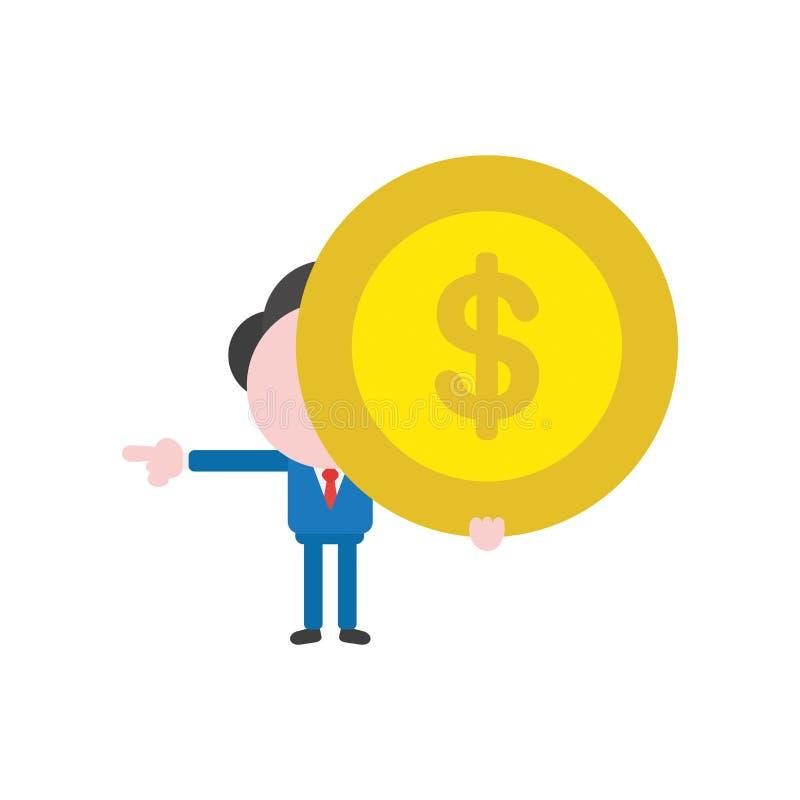 Mynt och punkt för pengar för dollar för vektoraffärsmantecken hållande vektor illustrationer