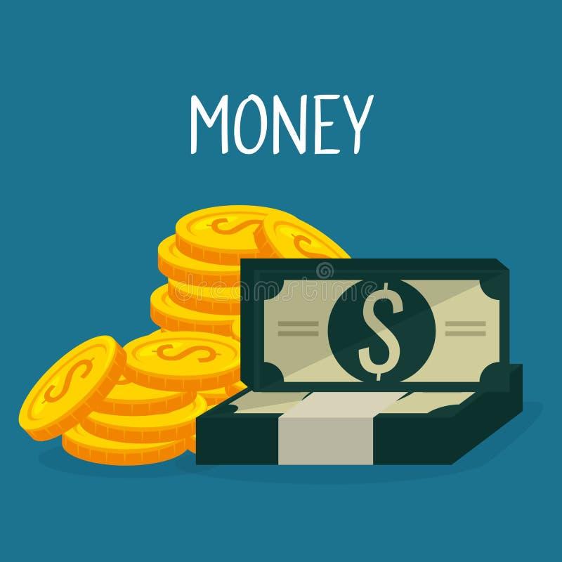 Mynt och räkningdollarpengar royaltyfri illustrationer