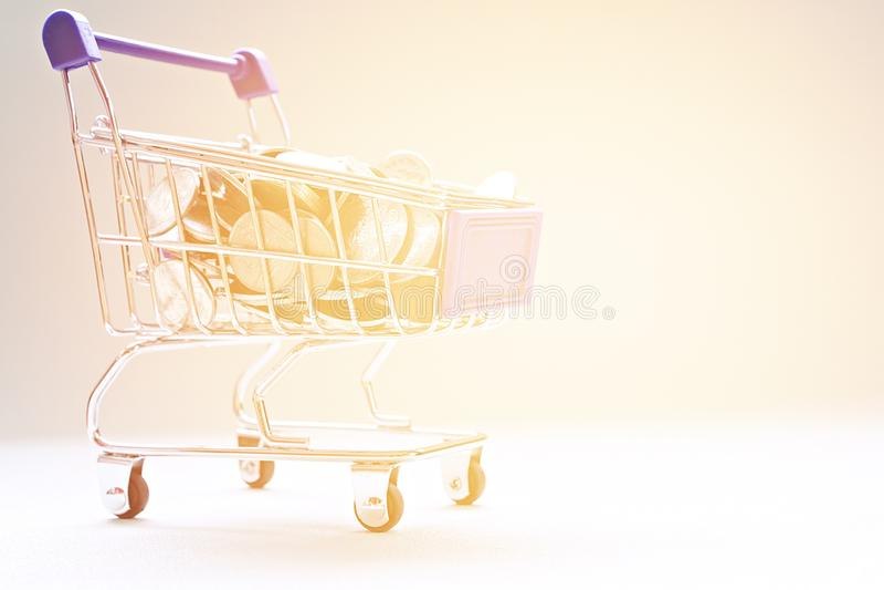 Mynt och shoppingvagn på skrivbordtabellen royaltyfri bild