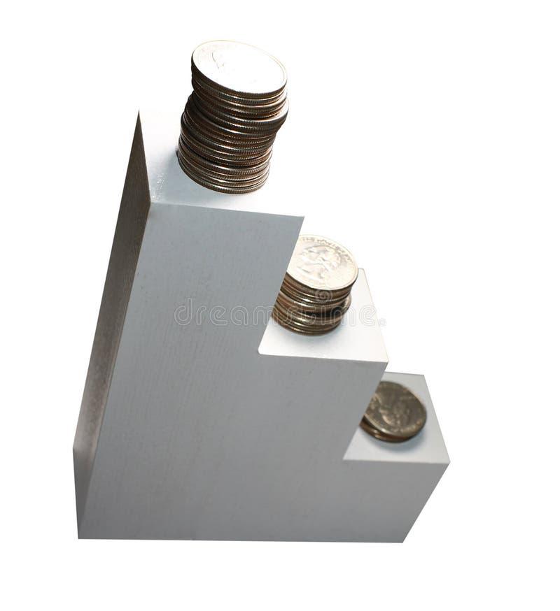 Mynt på vit trappa stiga som isoleras på den vita bakgrunden, begrepp av att växa finansiella pengar och sparande av pengar royaltyfri bild