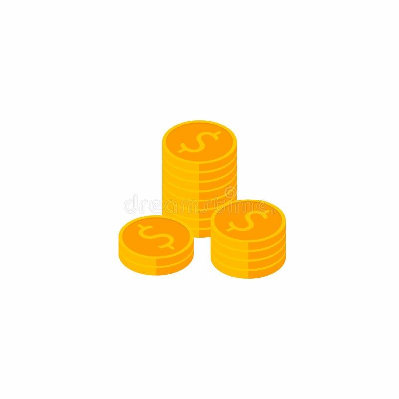 Mynt som är isometriskt, hög av pengar, vektor, plan symbol vektor illustrationer
