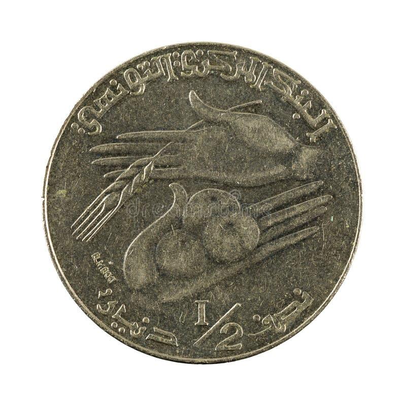 mynt 1990 som för tunisian dinar 0,5 isoleras på vit bakgrund royaltyfri fotografi
