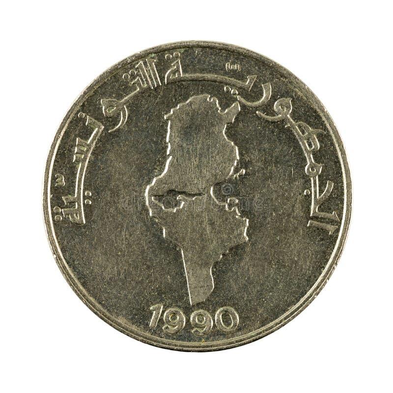 mynt 1990 som för tunisian dinar 0,5 isoleras på vit bakgrund arkivfoto