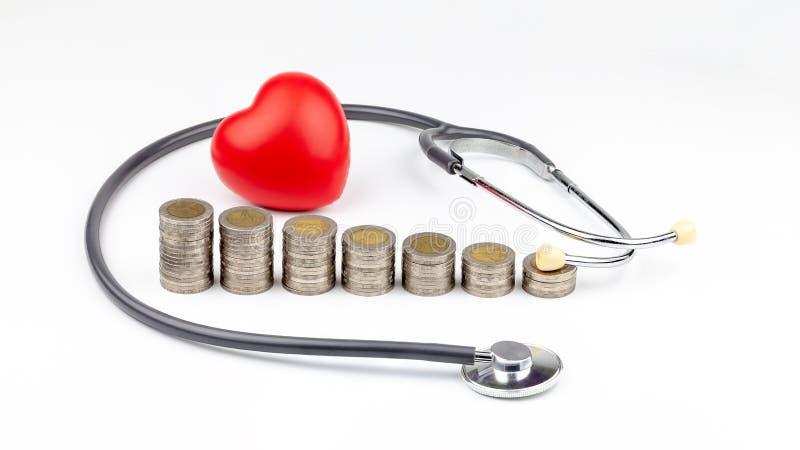 Mynt, stetoskop och röd hjärta, sparande pengar för medicinska kostnader och hälsovårdbegrepp royaltyfria foton