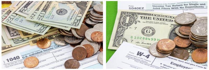 Myntar collage 1040 för kontantbetalning för skattformen arkivbild