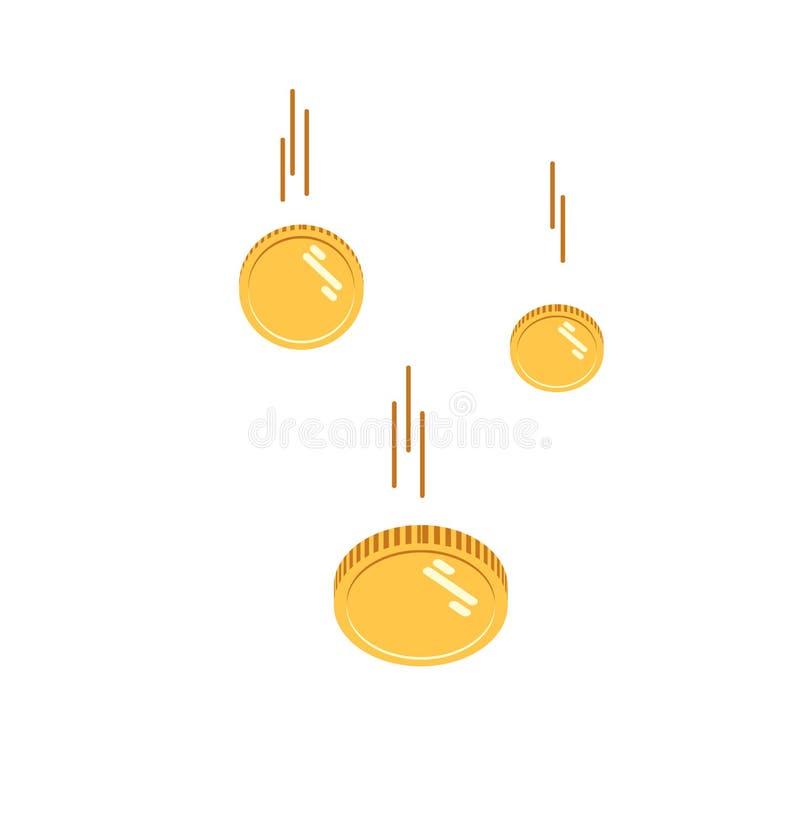 Myntar den fallande vektorillustrationen fallande pengar Plan stil som flyger isolerade guld- mynt, abstrakt begrepp myntar att t stock illustrationer