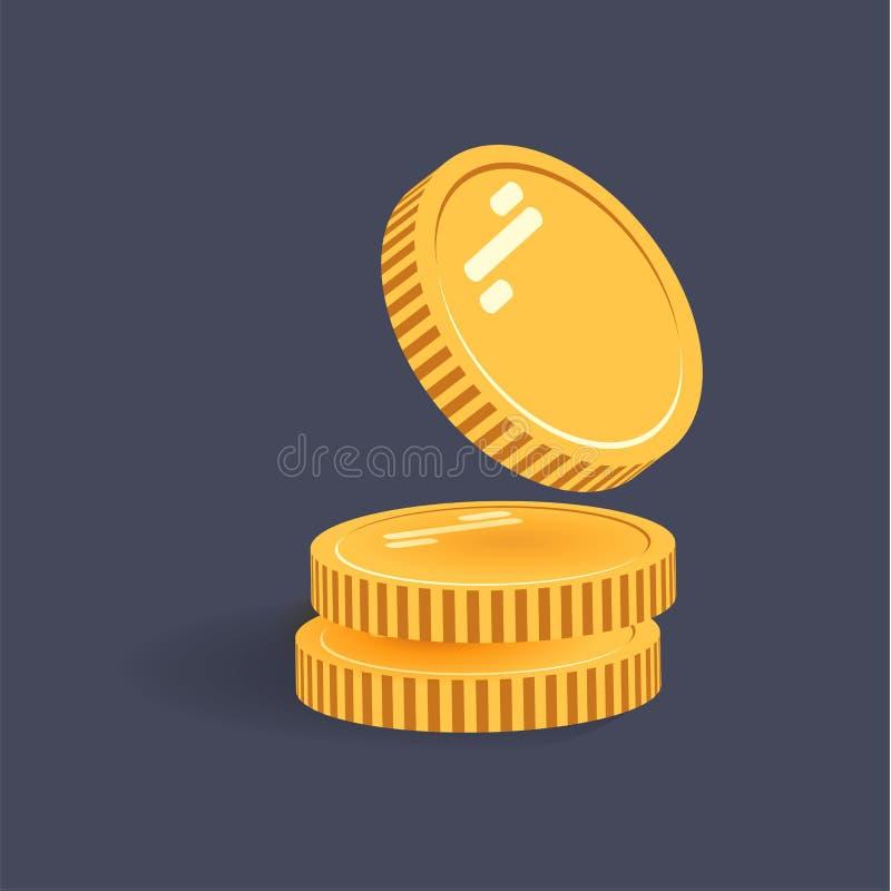 Myntar vektorsymbolsillustrationen Bunt av mynt med myntet som är främst av det Digital valuta Guld- mynt för plan stil royaltyfri illustrationer