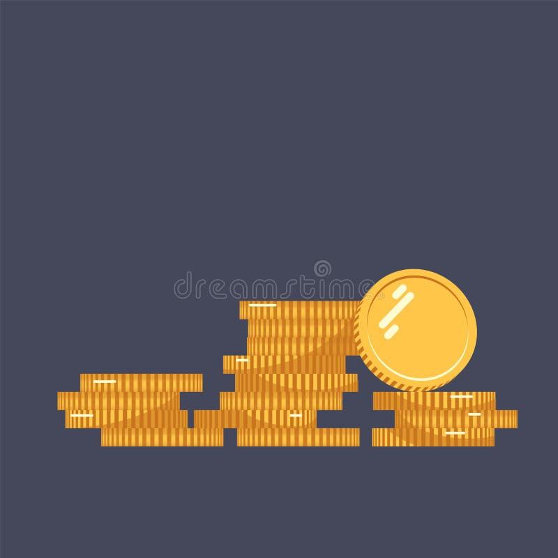 Myntar vektorsymbolsillustrationen Bunt av mynt med myntet som är främst av det Digital valuta Isolerade guld- mynt för plan stil vektor illustrationer