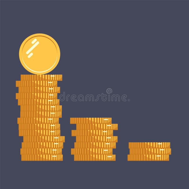 Myntar vektorsymbolsillustrationen Bunt av mynt med myntet som är främst av det Digital valuta Isolerade guld- mynt för plan stil royaltyfri illustrationer