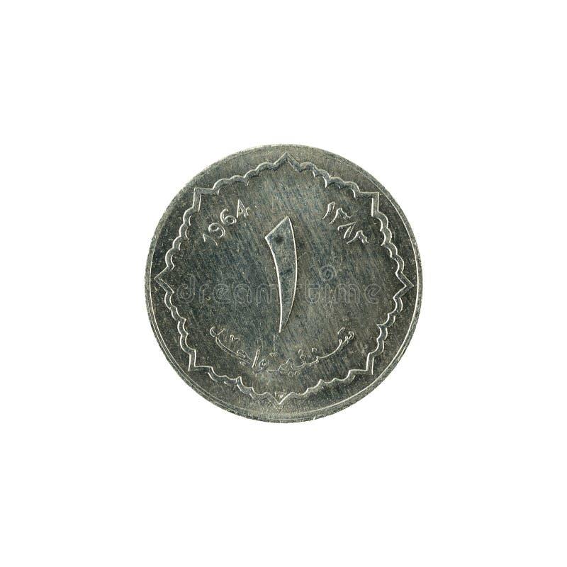 1 myntavers 1964 för algerisk dinar royaltyfri bild