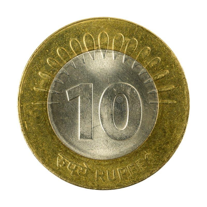 myntavers 2008 för indisk rupie 10 arkivfoto