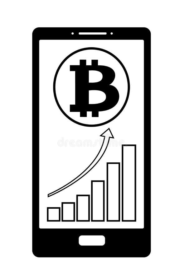 Myntbitcoin med tillväxtdiagrammet på telefonskärmen, vektorsymbol stock illustrationer