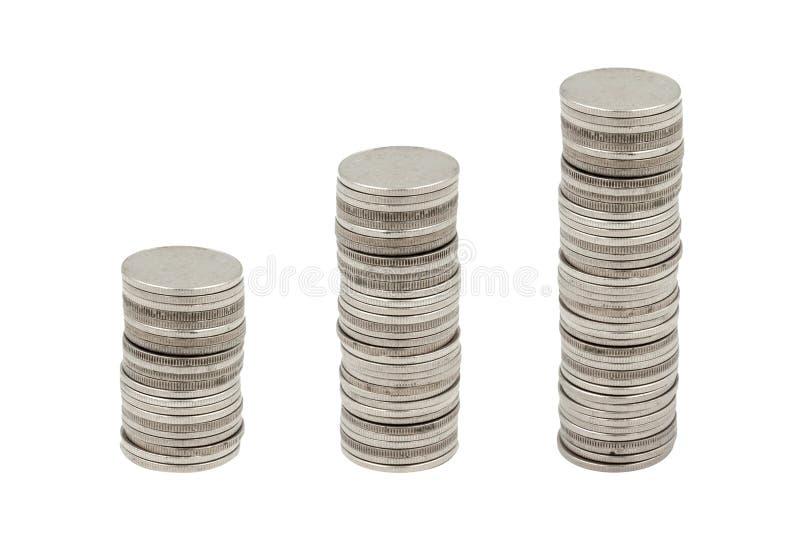 Myntbunt på vit royaltyfri fotografi