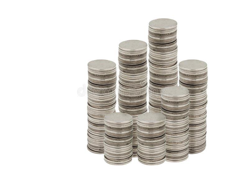 Myntbunt på vit bakgrund arkivbild