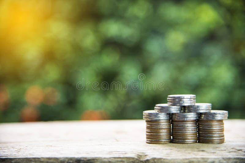 Myntbunt som husmodellen, besparingplan för att inhysa, grön bakgrund, finansiellt begrepp royaltyfria bilder
