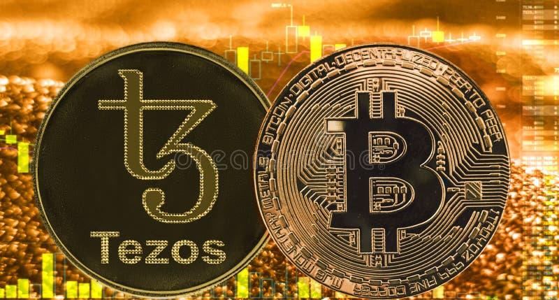 Myntcryptocurrency Tezos XTZ Bitcoin på guld- diagram vektor illustrationer