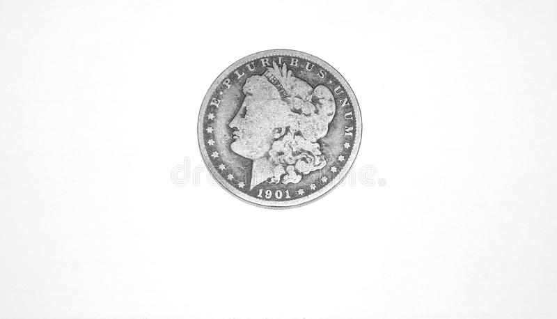 myntdollarmorgan silver arkivbild