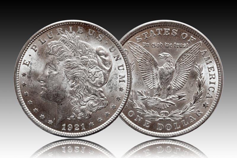 Myntet för USA Morgan Silver Dollar minted 1921 royaltyfria bilder