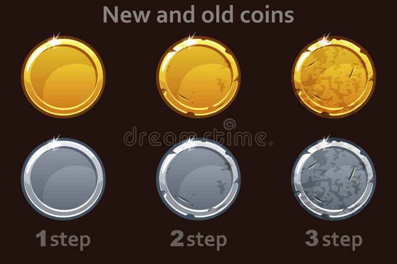 Myntsymbol Vektorguld- och silvermynt 3 moment av att dra ett mynt från nytt till gammalt vektor illustrationer