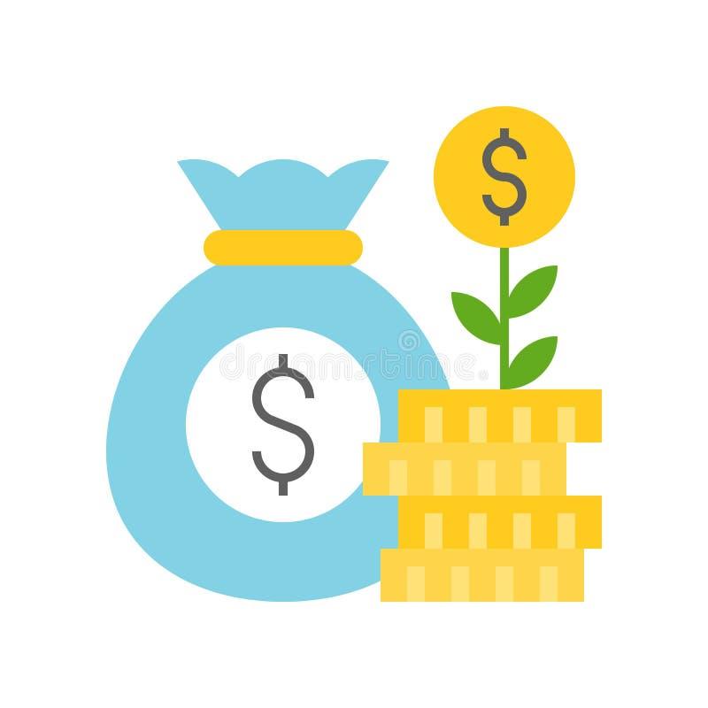Myntträd på bunt av mynt- och pengarpåse, vinst, banken och finan vektor illustrationer