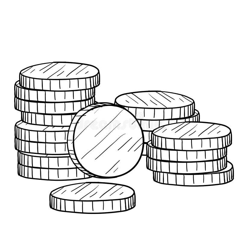 myntvaluta skissar stock illustrationer