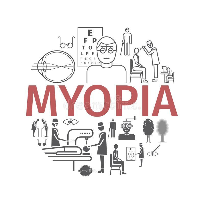 Myopia line icons set. Vector illustration for websites, magazines, brochures. Medicine signs. Myopia line icons set. Vector illustration for websites, magazines royalty free illustration