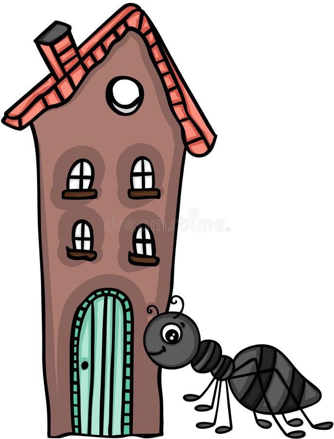 Myra och litet hus royaltyfri illustrationer