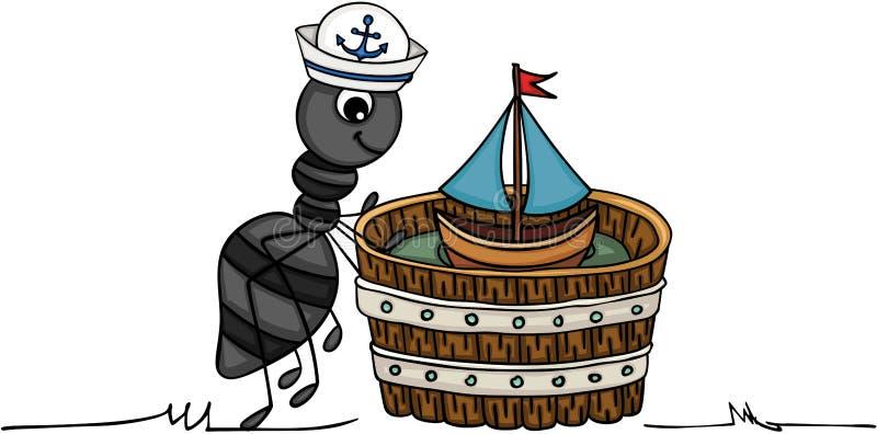 Myran med fartyget i trä badar vektor illustrationer