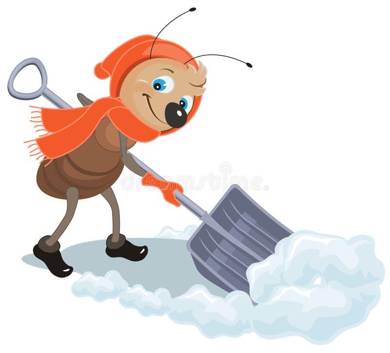 Myran tar bort snöskyffeln Snörensning stock illustrationer