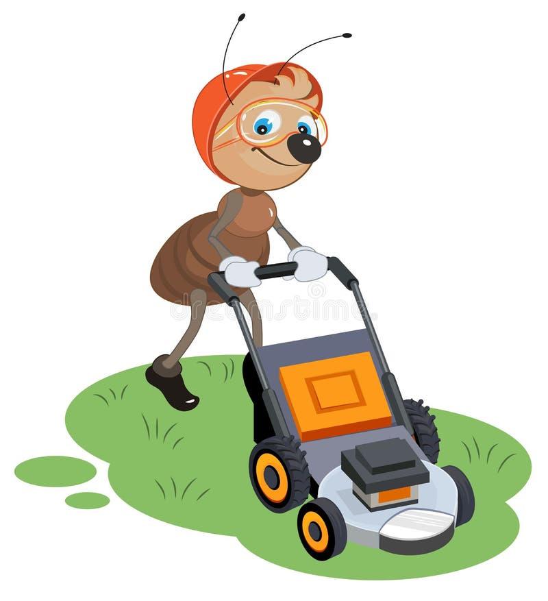 Myraträdgårdsmästaren mejar gräsmatta Trädgårdsmästare och gräsklippare stock illustrationer