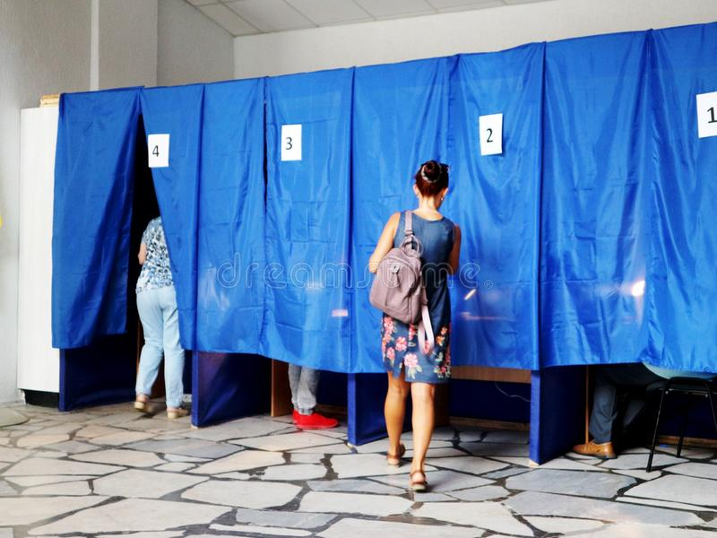 Voting rights - voting in the elections at the polling station in Ukraine stock images