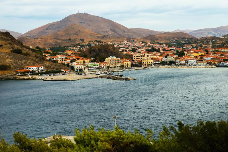 Myrina, capitol van eiland Lemnos, Griekenland royalty-vrije stock fotografie