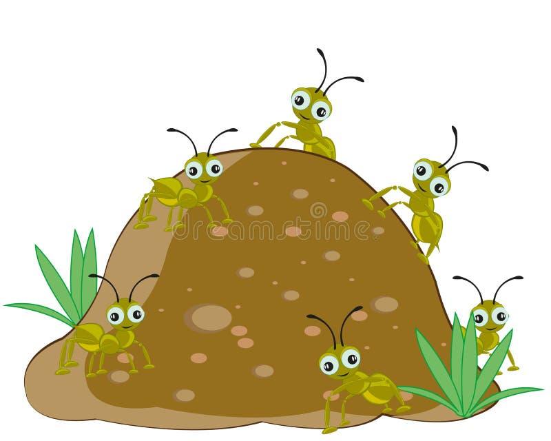 Myrstack med myran stock illustrationer