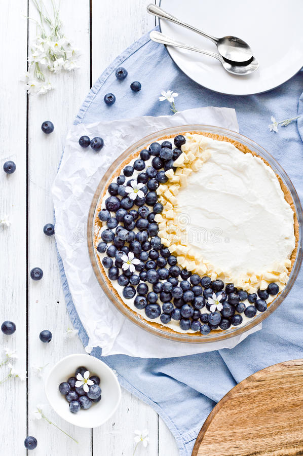 Myrtille et tarte blanche de Mascarpone de chocolat photographie stock libre de droits