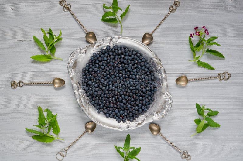Myrtille fraîche du plat argenté de vintage tout préparé sur le fond gris de cuisine avec l'espace de copie Concept sain de nourr photographie stock