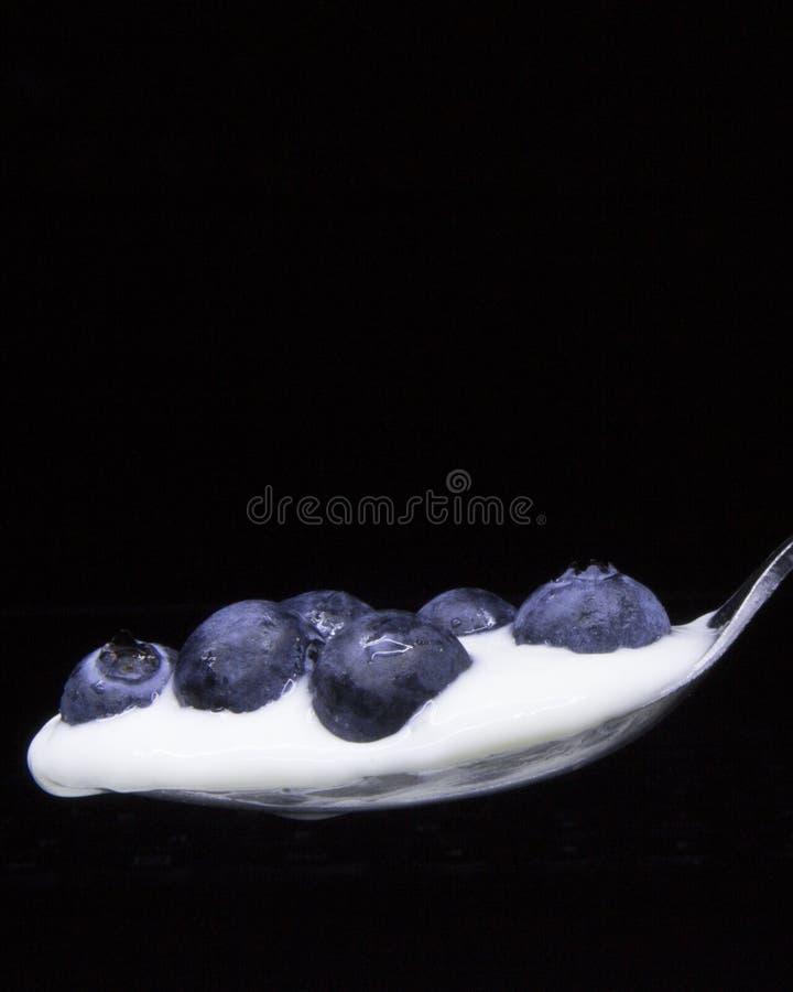 Myrtilles dans une cuillère d'isolement sur le noir Concept : Vie saine, nutritions image libre de droits