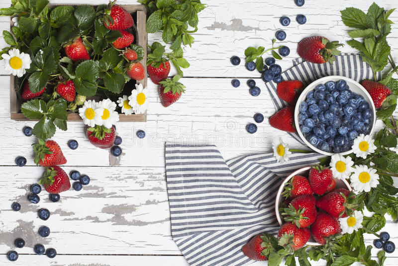 Myrtilles de fraises photos stock