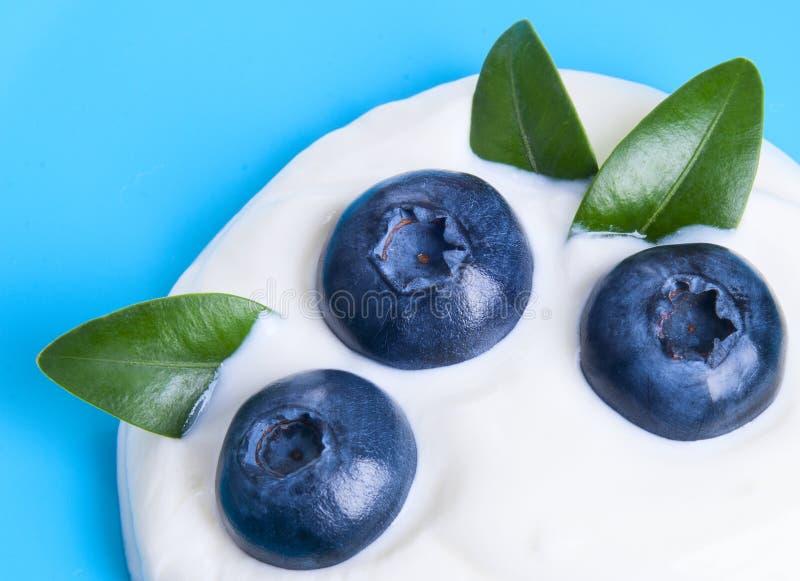 Myrtilles et yaourt images stock