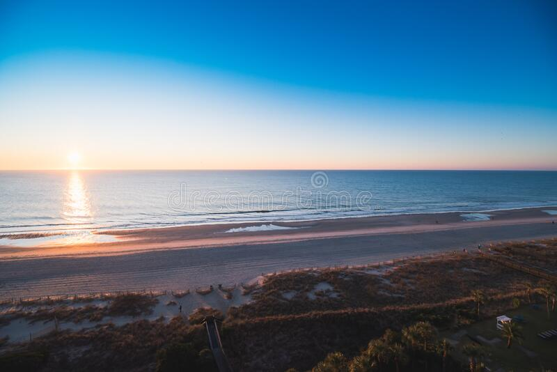 Myrtle Beach. Deserted Myrtle Beach at sunrise in South Carolina, USA stock photos
