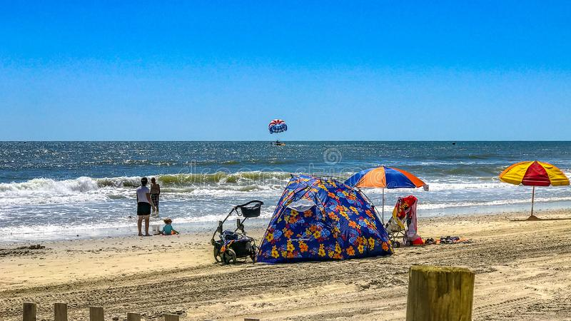 Myrtle Beach family on beachfront Myrtle Beach South Carolina royalty free stock images