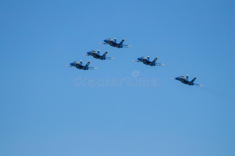 Myrtle Beach South Carolina Air show med de blåa änglarna royaltyfri fotografi